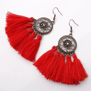 Jewelry - 🥀Red Boho Tassel Dreamcatcher Style Earrings
